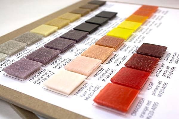 sample boards morjo vitreous glass tile 3 4 inch