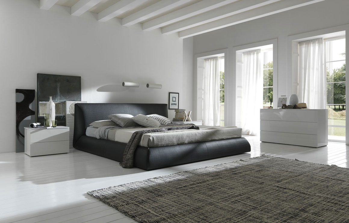 White-Bedroom-With-Black-Bed-White-Furniture-Big-Windows