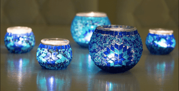 Mini Bougeoirs mosaïques artisanales