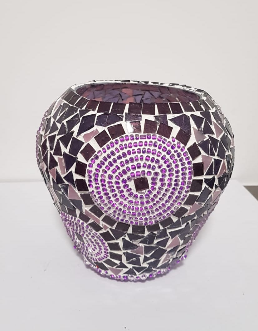 Bougeoirs XXL mosaïques artisanales violet