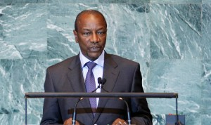 Guinea's President Alpha Conde addresses the 66th United Nations General Assembly at the U.N. headquarters, in New York