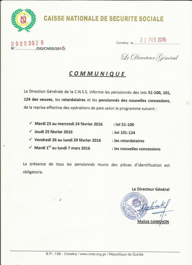 COMMUNIQUE  CNSS (1)