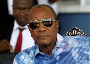 Guinea's President Alpha Conde, leader of Rassemblement du Peuple de Guinea (RPG), attends the inauguration ceremony of the passenger harbor of Sandervalia in Conakry October 8, 2015. REUTERS/Luc Gnago/Files