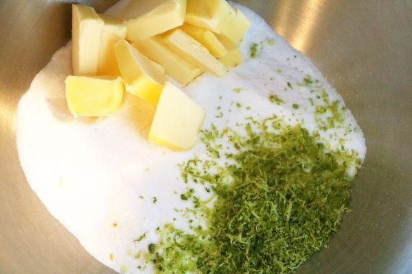 Zucker Butter Limettenabrieb