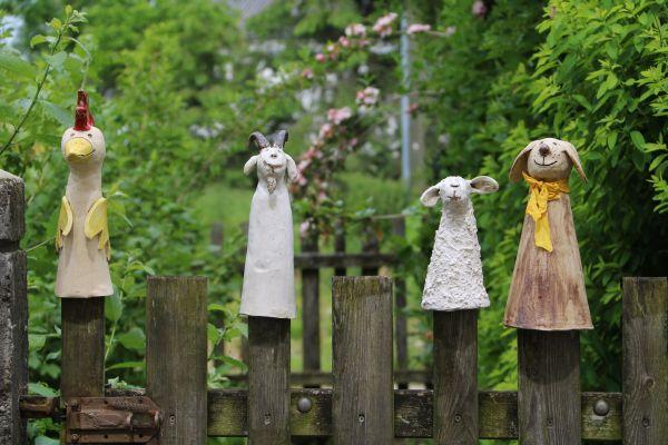 Hahn und Hund und Ziege und Schaf