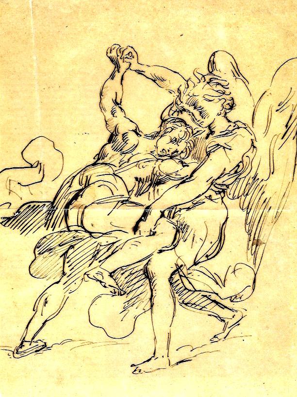 Ce dessin d'Eugène Delacroix a été présenté lors d'une exposition au Louvre. Il est réalisé à la plume sépia