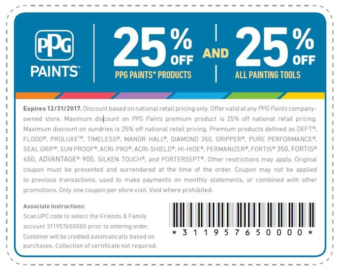 PPG Paints friends & family discount 2017