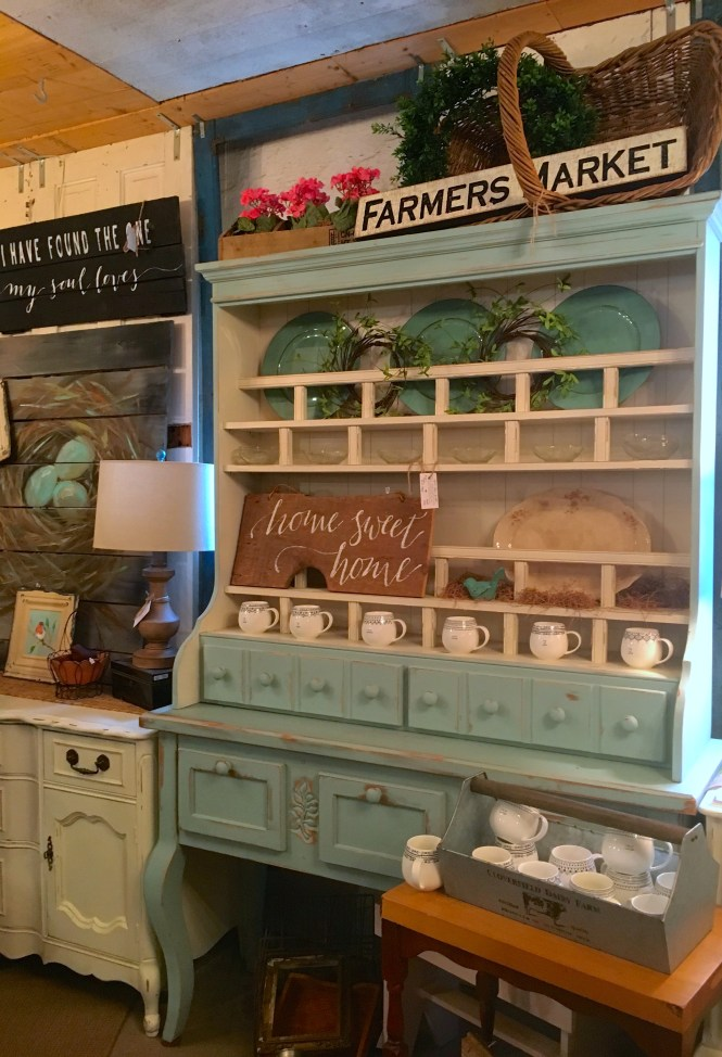 tiffany blue farmhouse hutch