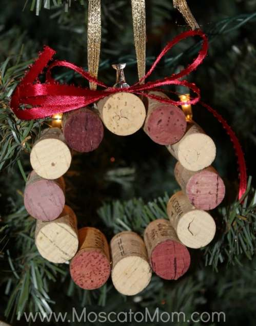 wine cork wreath ornament