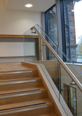 Oak and glass stair