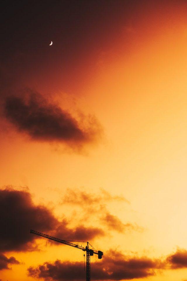 industrial crane during golden hour