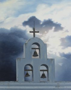 Oil of San Xavier mission bells by artist Rob Macintosh