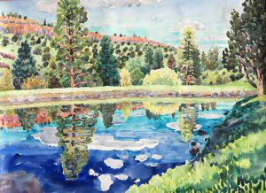 Watercolor landscape of South Fork Pond by artist Rick DeMont