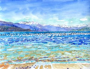 Watercolor lake scene by artist Rick DeMont