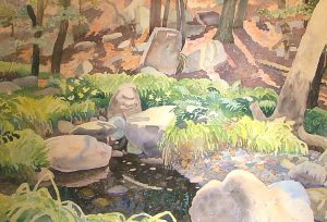 Watercolor Landscape with pond, rocks and trees by artist Rick DeMont
