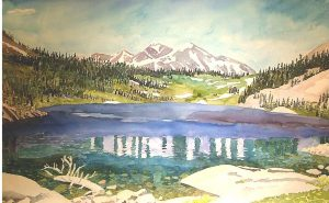 Watercolor Landscape of Tioga Pass with lake and mountains by artist Rick DeMont