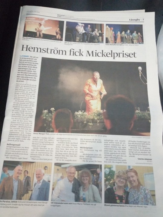 Wangari the storyteller in Swedish newspaper