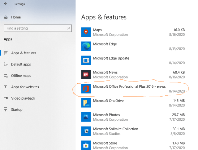 How to repair the MS Office in Windows 10 PRO