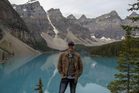 Peter at Moraine Lake, Jasper National Park. August 2019. (C)