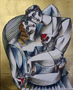 Embrace original painting by Yuroz