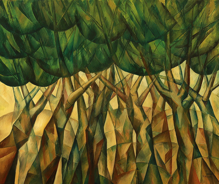 """Dancing Trees Original oil on canvas by Yuro 60"""" x 82"""" inches."""