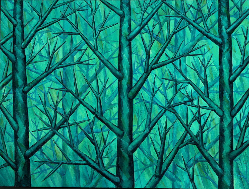"""Harmony in Green by Yuroz oil on canvas 80"""" x 100"""""""