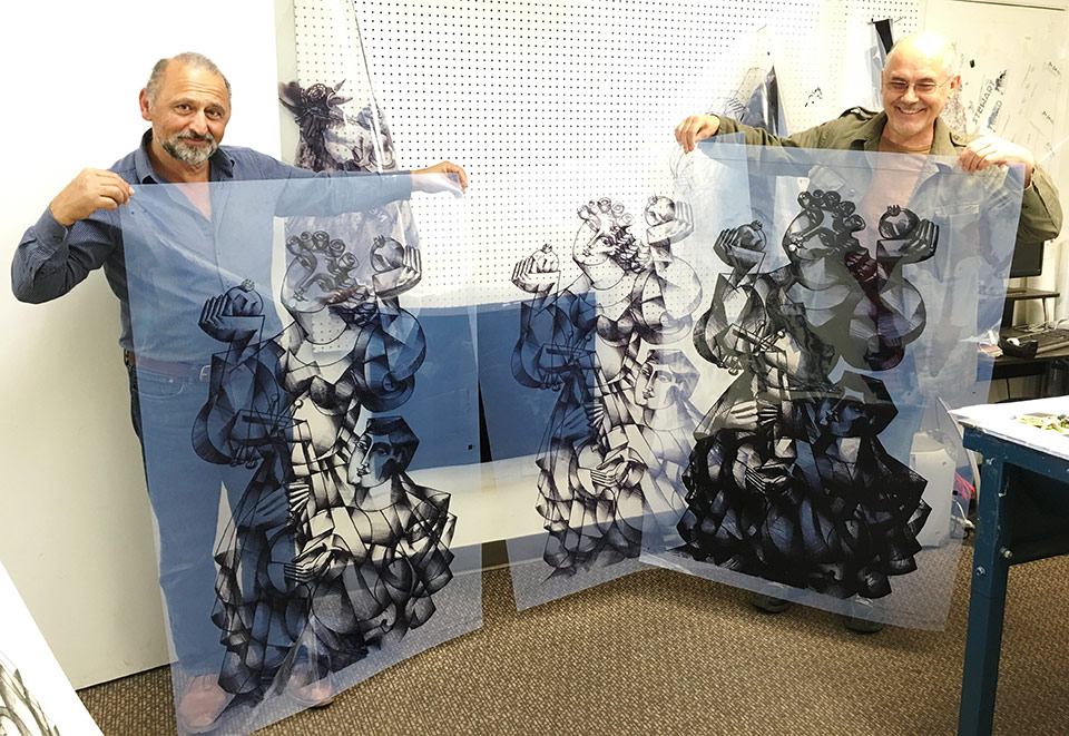 Yuroz during printing process for Dance with the Pomegranates