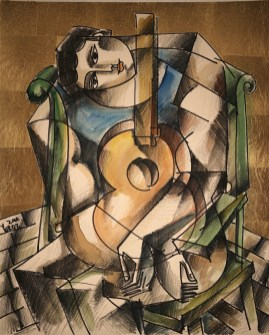 6379 – The Guitar Player, Mixed Media w/23K Gold Leaf on Museum Board, 18 x 15 inches (45.72 x 38.1 cm)