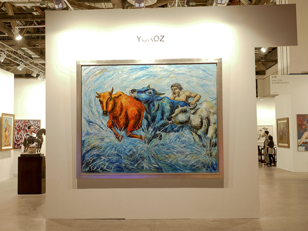 Yuroz and Moso Art Gallery booth at Art Stage Singapore 2017 - Breaking Through oil on canvas by Yuroz