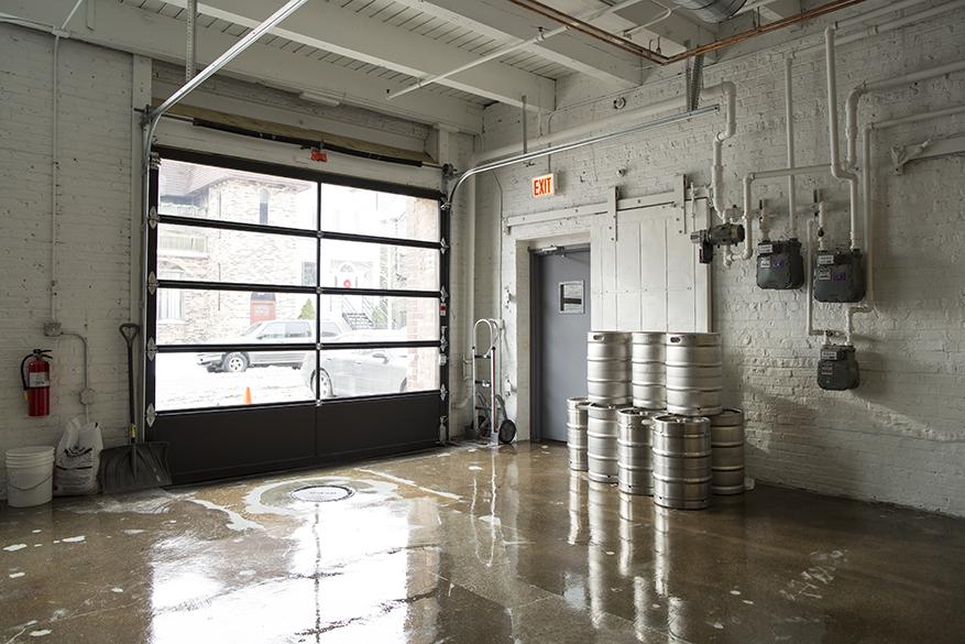 begyle brewery, glass garage door