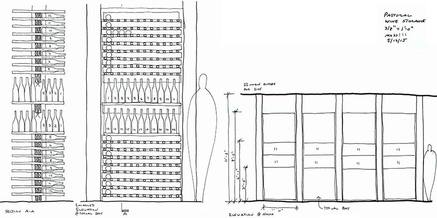 wine rack design sketches