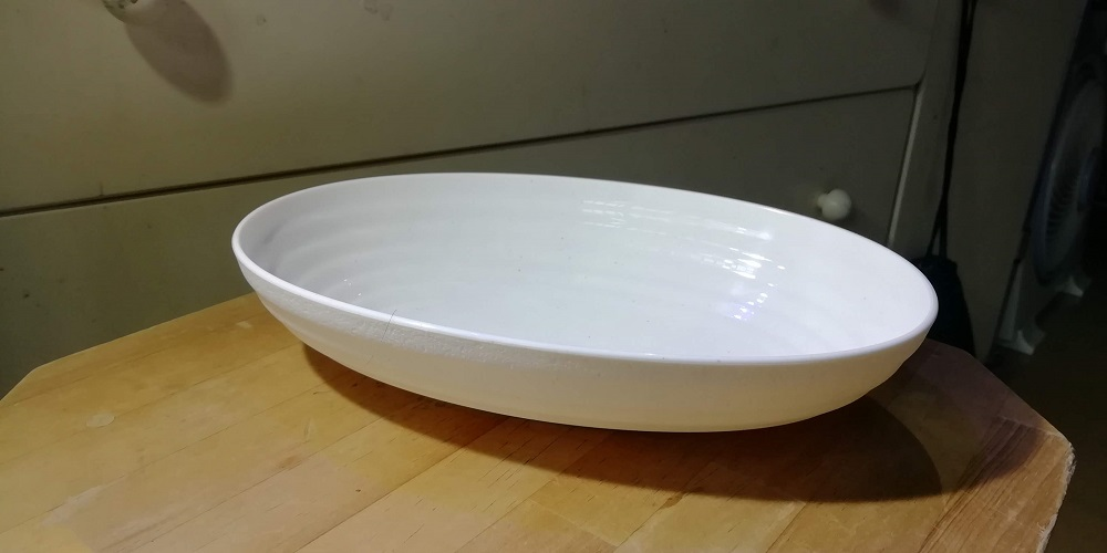 新しい容器はプラスチックの楕円深皿