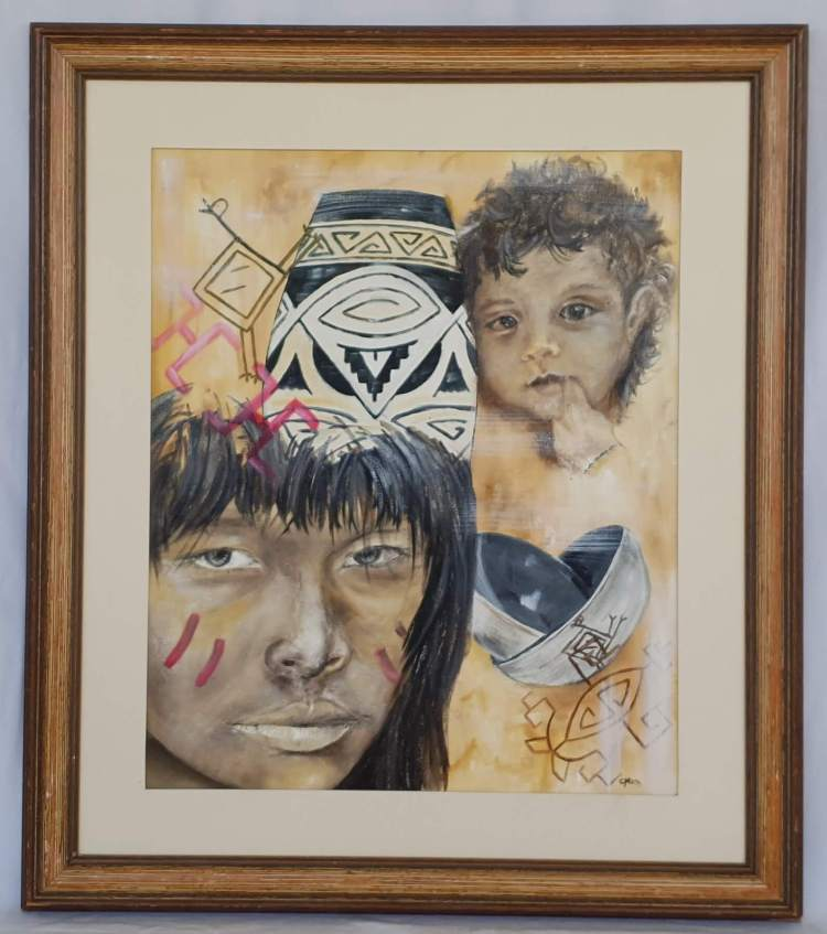 mother and child with amazonian ceramic symbols