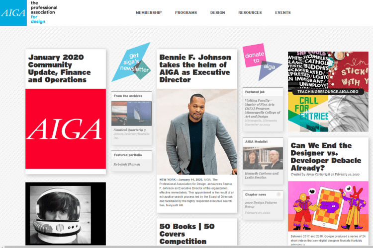 AIGA homepage showing the proximity principle