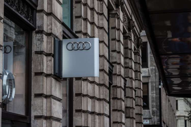 Audi logo in building