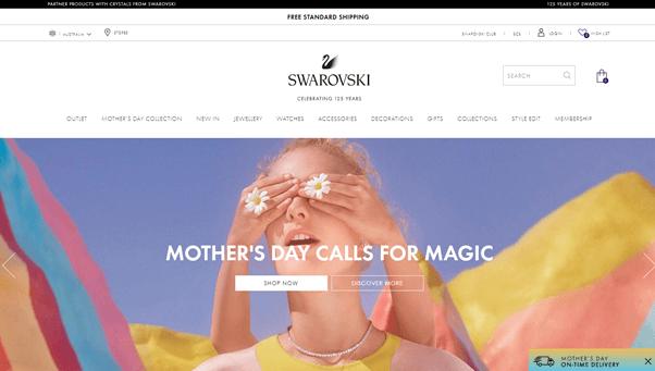 Swarovski home page from their website