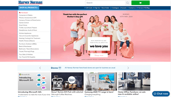 Harvey Norman home page is navigable and colourful in the website