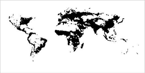 Areas with population density over 5 people per square kilometer.