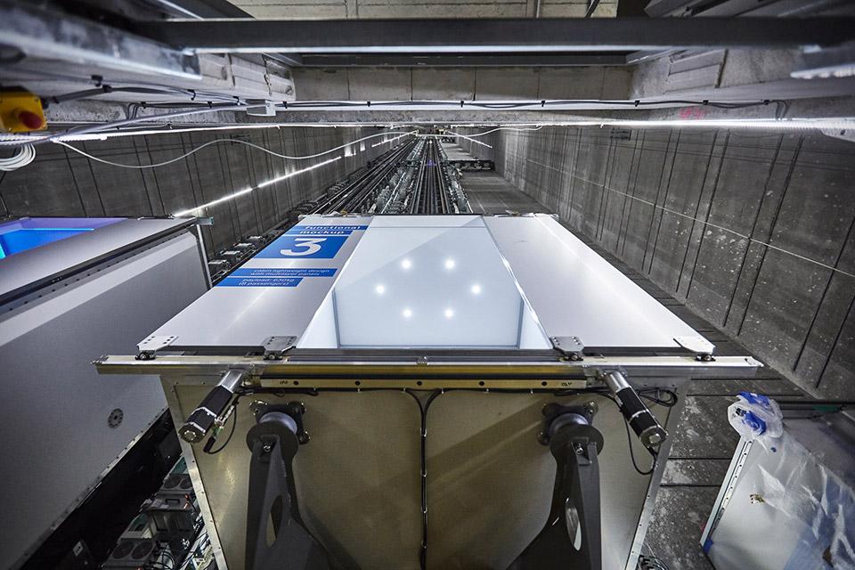 futuristic elevator allows for sideways travel