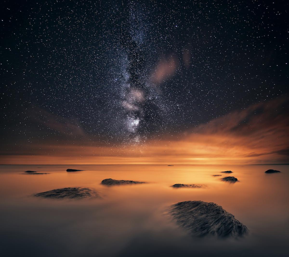Stars at night, Lough Neagh, Northern Ireland, UK