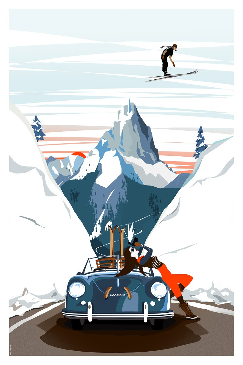 Bold, Stylized Illustration Showcases Glamorous Skiing