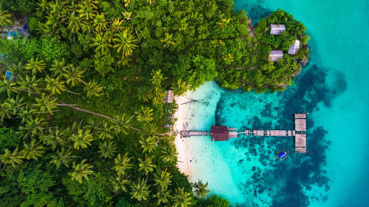 Aerial view of old bridge in Raja Ampat, West Papua, Indonesia.
