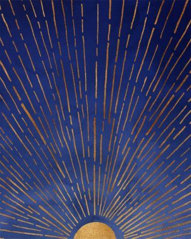 Indigo Blue & Metallic Gold Sunrise _ Sunset Poster ~ designed by Modern Tropical Studios #homedecor #gold #decor #kids #room