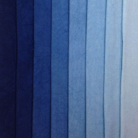 Tints of standard Indigo blue - denim blues- Eight colors bundled and sold together- Hand Dyed 100% Cotton- Machine washable in Synthrapol- Single colors available as Yardage_ Indigo