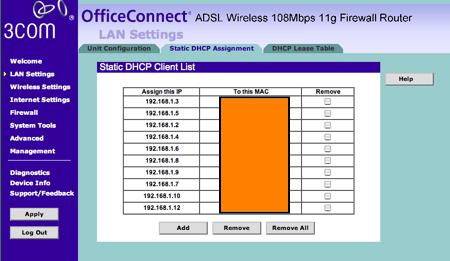 3com preassignar ips a adreces MAC