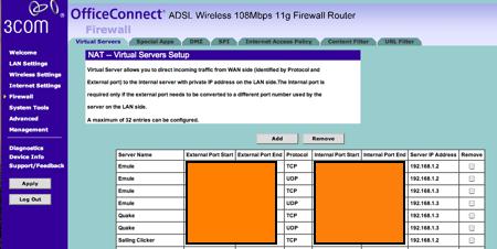 3com configuració ports NAT