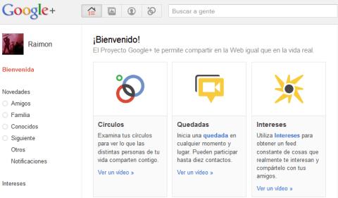 Google+ pantalla de benvinguda