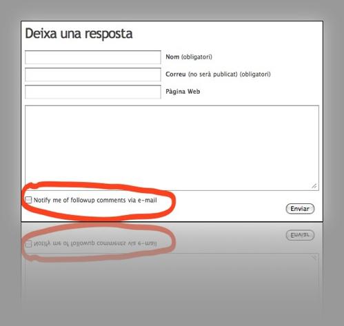 plugin subscripció comentaris per e-mail