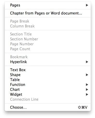 iBooks Author Menu
