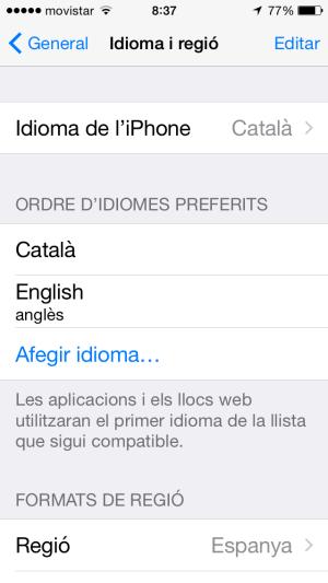 Definir ordre idioma en iOS8